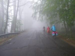 ciclisti nella nebbia